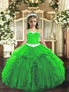 Affordable Green Straps Lace Up Appliques and Ruffles Custom Made Pageant Dress Sleeveless