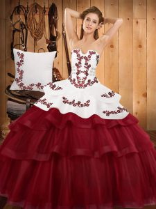 Embroidery and Ruffled Layers Quinceanera Gowns Burgundy Lace Up Sleeveless Sweep Train