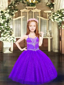 Purple Spaghetti Straps Neckline Beading Custom Made Pageant Dress Sleeveless Lace Up