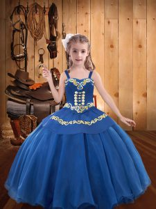 Beauteous Blue Sleeveless Beading and Embroidery and Ruffles Floor Length Pageant Dress