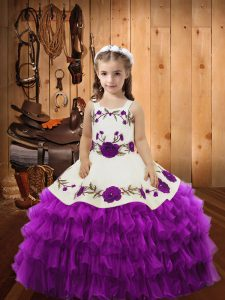 Sleeveless Organza Lace Up Pageant Dress in Eggplant Purple with Lace