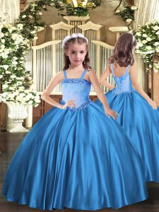 Baby Blue Ball Gowns Straps Sleeveless Satin Floor Length Lace Up Appliques Little Girls Pageant Dress Wholesale