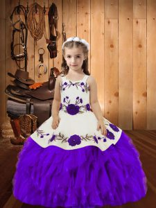 New Arrival Floor Length Eggplant Purple Little Girl Pageant Dress Straps Sleeveless Lace Up