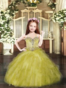 Dramatic Sleeveless Floor Length Beading and Ruffles Lace Up Custom Made Pageant Dress with Olive Green