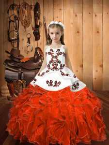 Sleeveless Floor Length Embroidery and Ruffles Lace Up Pageant Gowns with Orange Red