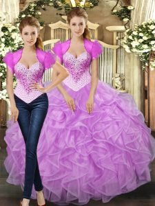 Lilac Ball Gowns Tulle Straps Sleeveless Beading and Ruffles Floor Length Lace Up Ball Gown Prom Dress