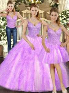 Best Lilac Quinceanera Gowns Military Ball and Sweet 16 and Quinceanera with Beading and Ruffles Straps Sleeveless Lace Up