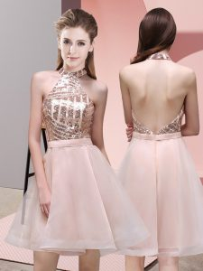 High Quality Baby Pink A-line Chiffon Halter Top Sleeveless Sequins Mini Length Backless Dama Dress