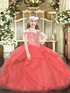 Eye-catching Coral Red Sleeveless Floor Length Beading and Ruffles Lace Up Kids Formal Wear