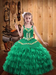 Modern Ball Gowns Pageant Dress Turquoise Straps Organza Sleeveless Floor Length Lace Up