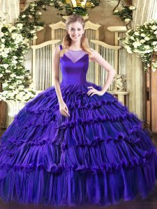 Deluxe Sleeveless Side Zipper Floor Length Beading and Ruffled Layers Quinceanera Gown