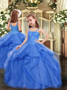 Blue Ball Gowns Beading and Ruffles Pageant Dress for Teens Lace Up Organza Sleeveless Floor Length