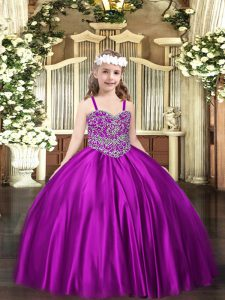 Fashion Straps Sleeveless Lace Up Winning Pageant Gowns Purple Satin