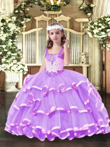 Lilac Straps Neckline Beading and Ruffled Layers Evening Gowns Sleeveless Lace Up