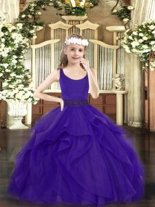Purple Ball Gowns Scoop Sleeveless Tulle Floor Length Zipper Beading and Ruffles Pageant Dress Wholesale