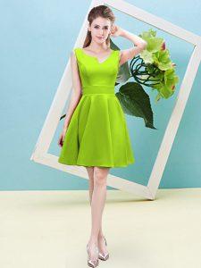 High Class Mini Length Yellow Green Dama Dress Asymmetric Sleeveless Zipper