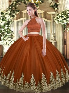 Deluxe Rust Red Ball Gowns Beading and Appliques 15 Quinceanera Dress Backless Tulle Sleeveless Floor Length