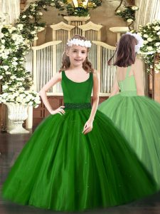 Graceful Floor Length Zipper Pageant Gowns Dark Green for Party and Quinceanera with Beading
