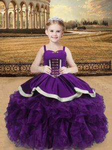 Hot Sale Eggplant Purple Sleeveless Organza Lace Up High School Pageant Dress for Sweet 16 and Quinceanera