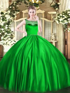 Green Ball Gown Prom Dress Sweet 16 and Quinceanera with Beading Scoop Sleeveless Zipper