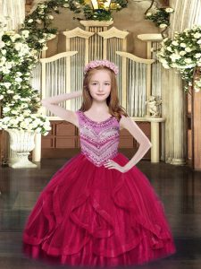 Perfect Scoop Sleeveless Lace Up Kids Formal Wear Hot Pink Tulle