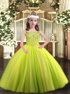 Dramatic Yellow Green Ball Gowns Straps Sleeveless Tulle Floor Length Lace Up Beading Pageant Dress Toddler