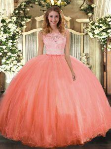 Graceful Floor Length Ball Gowns Sleeveless Orange Red Sweet 16 Dress Clasp Handle