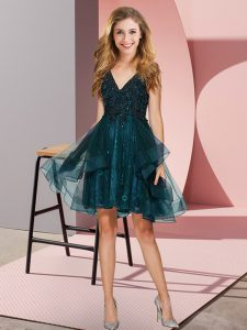 Fantastic Tulle Sleeveless Knee Length Dama Dress for Quinceanera and Appliques and Ruffles