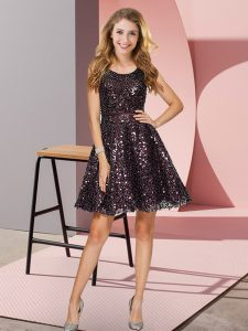 Black Court Dresses for Sweet 16 Prom and Party and Wedding Party with Sequins Scoop Sleeveless Zipper