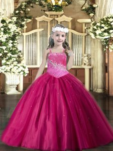 Fuchsia Tulle Lace Up Pageant Dresses Sleeveless Floor Length Beading