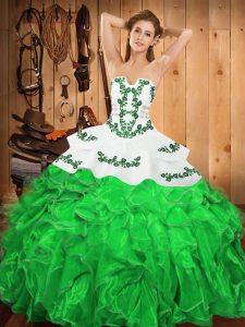 Embroidery and Ruffles Vestidos de Quinceanera Green Lace Up Sleeveless Floor Length