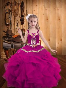 Cute Fuchsia Little Girls Pageant Dress Party and Sweet 16 and Quinceanera and Wedding Party with Embroidery and Ruffles Straps Sleeveless Lace Up