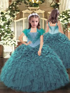 Fancy Teal Straps Neckline Beading and Ruffles Pageant Dress for Girls Sleeveless Lace Up
