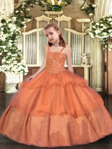 Orange Sleeveless Organza Lace Up Pageant Dress for Party and Sweet 16 and Quinceanera and Wedding Party