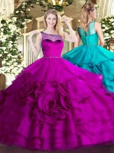 Shining Fuchsia Zipper Scoop Beading and Ruffled Layers Quince Ball Gowns Organza Sleeveless