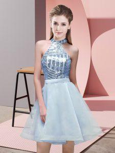 Modern Light Blue Halter Top Backless Sequins Dama Dress for Quinceanera Sleeveless