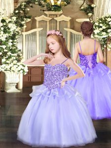 Admirable Floor Length Ball Gowns Sleeveless Lavender Pageant Gowns For Girls Lace Up