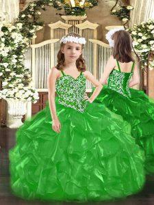 High End Floor Length Green Pageant Dress Wholesale Organza Sleeveless Beading and Ruffles