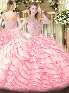 Noble Beading and Ruffled Layers Sweet 16 Quinceanera Dress Baby Pink Zipper Sleeveless Sweep Train