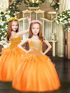 Sleeveless Beading Lace Up Pageant Dress for Teens