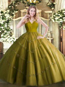 Olive Green Ball Gowns Tulle V-neck Sleeveless Beading Floor Length Zipper 15th Birthday Dress