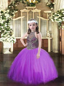 Eggplant Purple Sleeveless Floor Length Beading Lace Up Winning Pageant Gowns