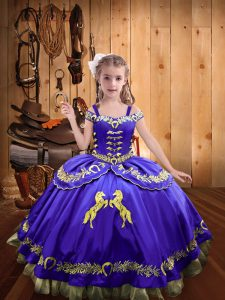 Purple Sleeveless Floor Length Beading and Embroidery Lace Up Girls Pageant Dresses