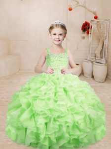 Custom Made Yellow Green Lace Up Little Girls Pageant Dress Wholesale Beading and Ruffles Sleeveless Floor Length