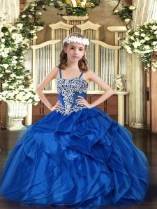 Organza Straps Sleeveless Lace Up Appliques and Ruffles Pageant Dress for Womens in Blue