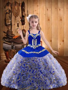 Multi-color Ball Gowns Embroidery and Ruffles Custom Made Pageant Dress Lace Up Fabric With Rolling Flowers Sleeveless Floor Length
