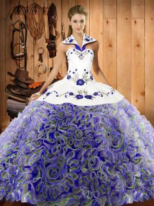 Vintage Embroidery Sweet 16 Quinceanera Dress Multi-color Lace Up Sleeveless Sweep Train