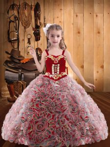 Embroidery and Ruffles Kids Pageant Dress Red Lace Up Sleeveless Floor Length