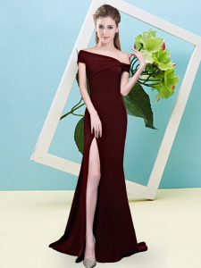 Sleeveless Elastic Woven Satin Floor Length Zipper Dama Dress for Quinceanera in Brown with Ruching