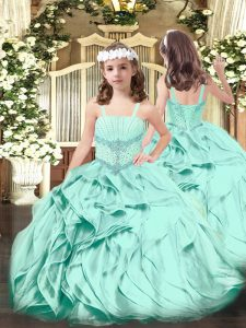 Floor Length Apple Green Pageant Dress Womens Straps Sleeveless Lace Up